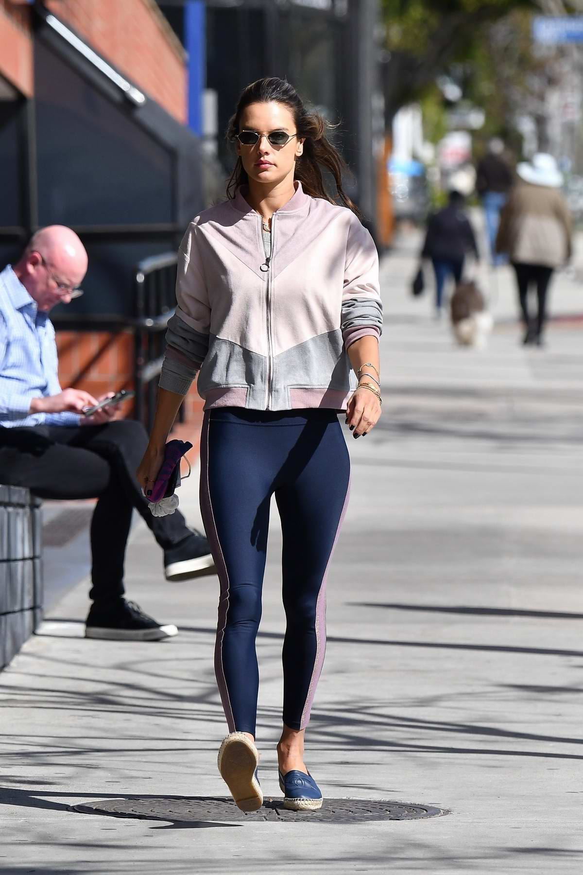 Alessandra Ambrosio hits the gym and later stops to grab a salad and a cold drink in Santa Monica, California