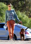 Alessandra Ambrosio keeps things casual while out for a hike with her dog in Los Angeles