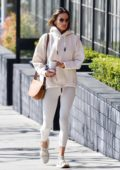 Alessandra Ambrosio rocks a white hoodie and leggings as she hits a pilates class before running a few errands in Los Angeles