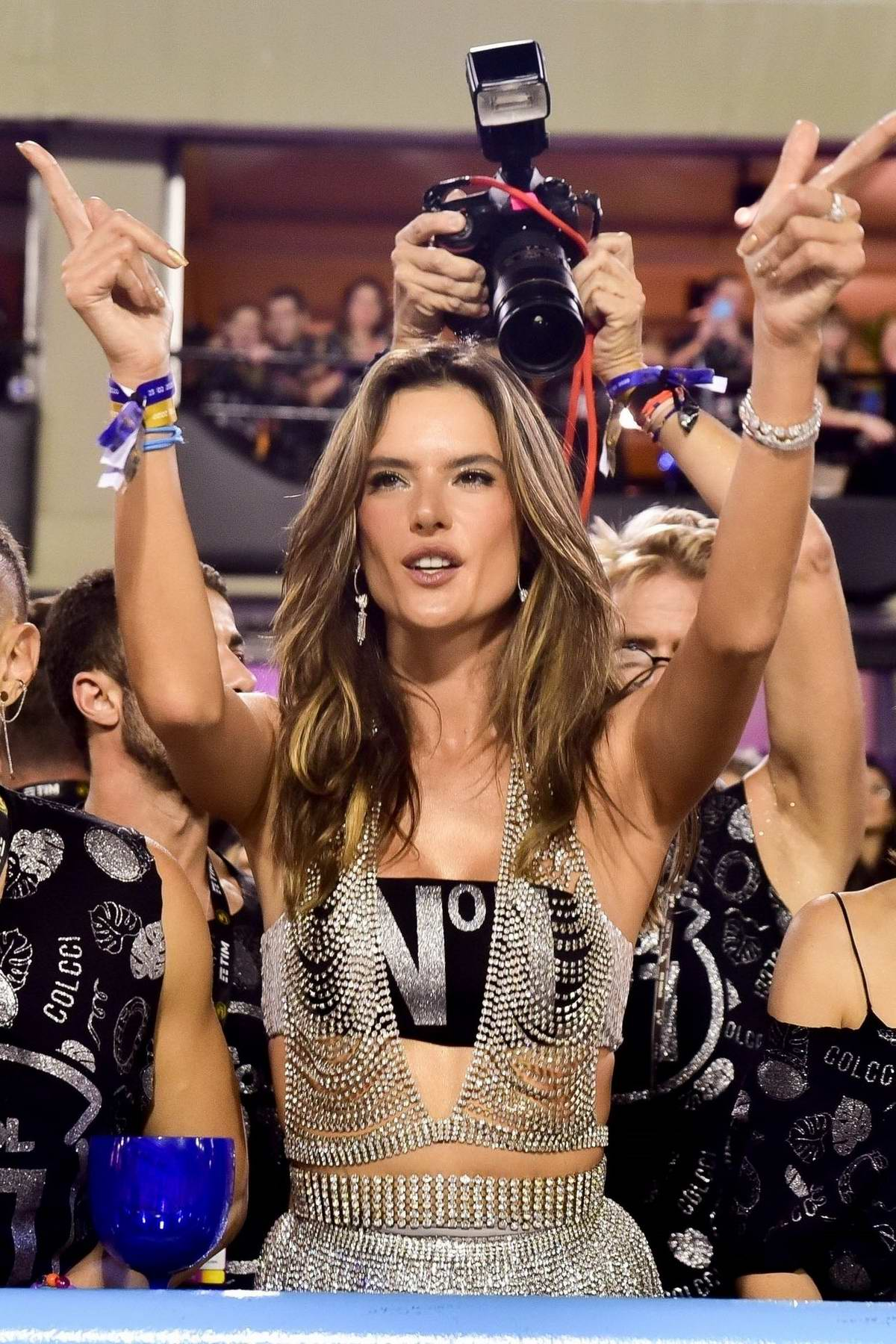 Alessandra Ambrosio stuns in a silver fringe dress while enjoying the Carnival in Rio de Janeiro, Brazil
