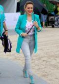 Alyssa Milano attends the Fanatics Pre-Super Bowl party in Miami, Florida