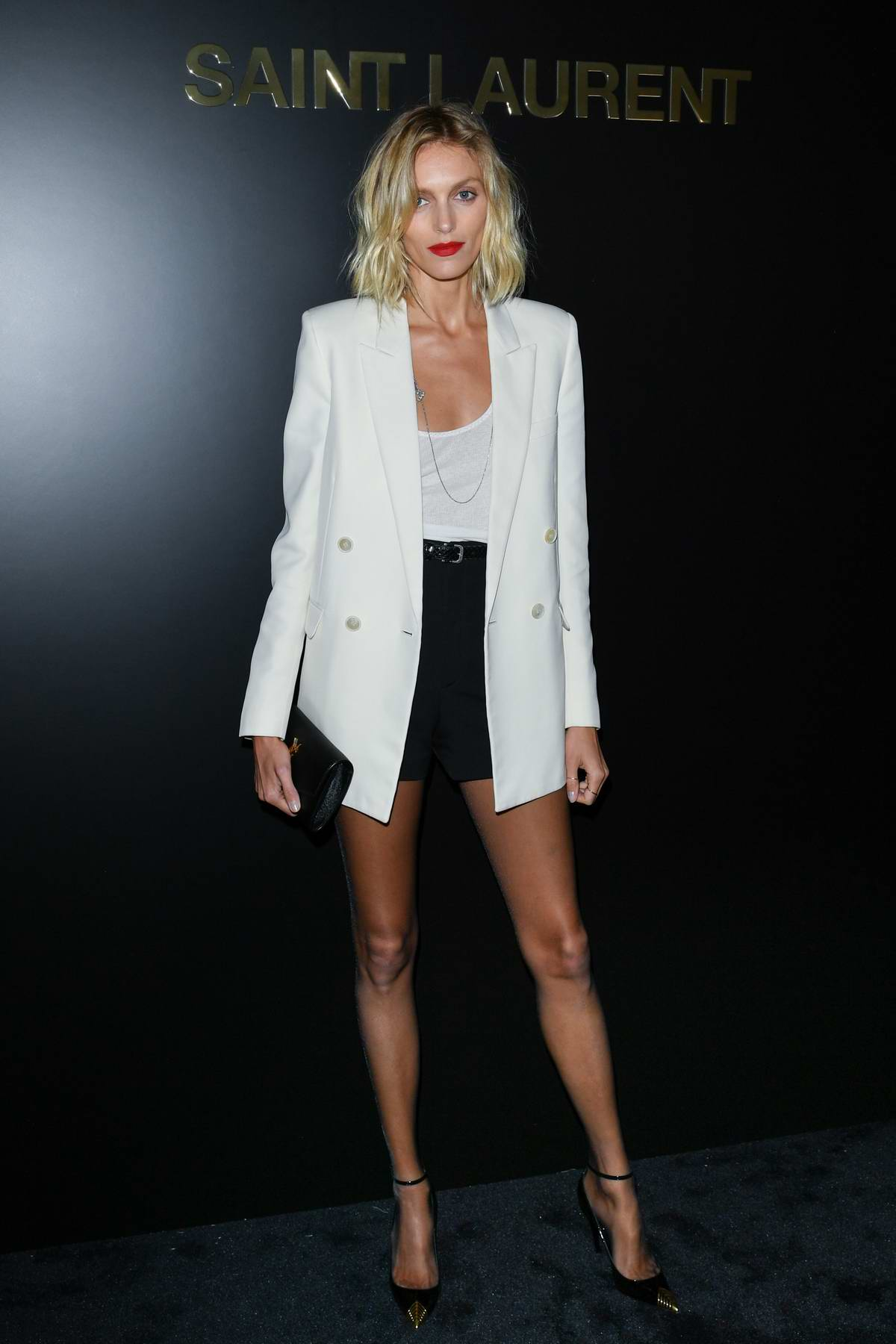 Anja Rubik attends the Saint Laurent show, F/W 2020 during Paris Fashion Week in Paris, France