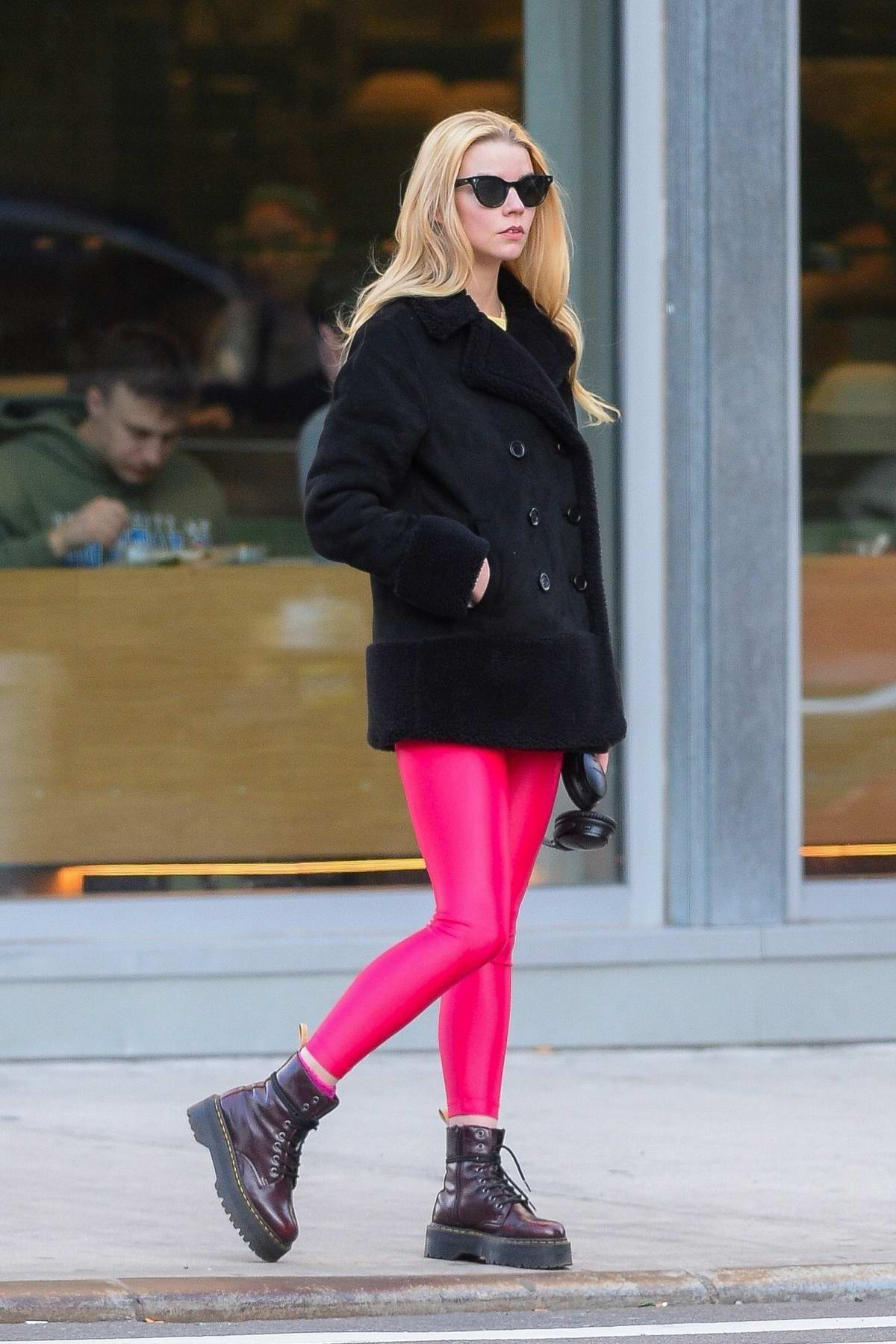 Anya Taylor-Joy sports hot pink leggings while out in New York City