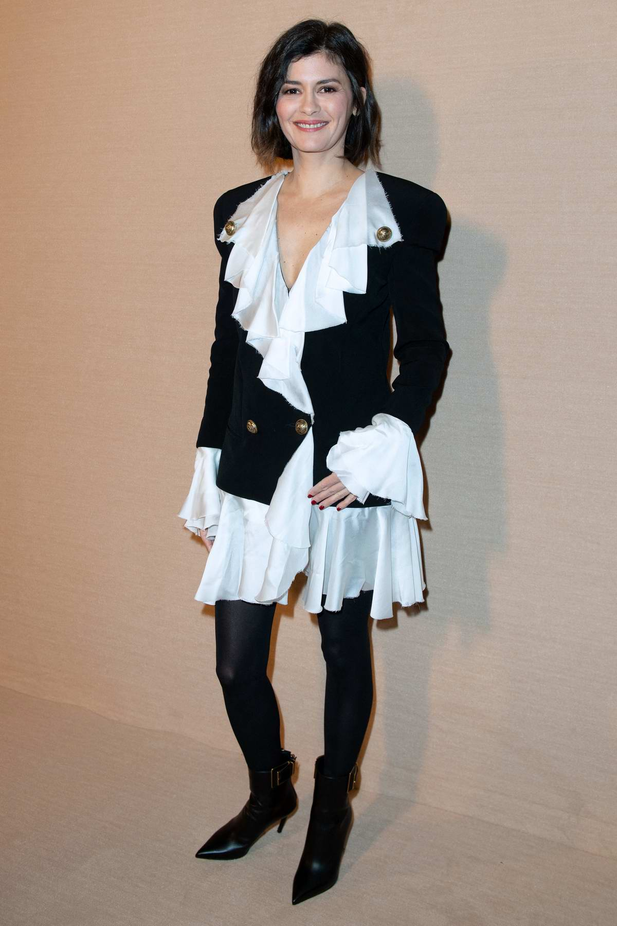 Audrey Tautou attends the Balmain show, F/W 2020 during Paris Fashion Week in Paris, France