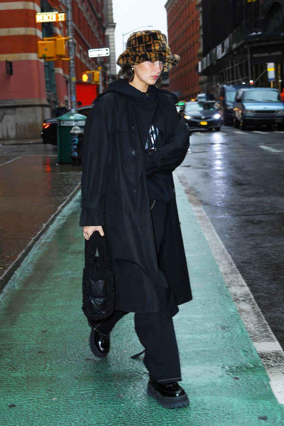 Bella Hadid dons all-black as she steps out in SoHo, New York City