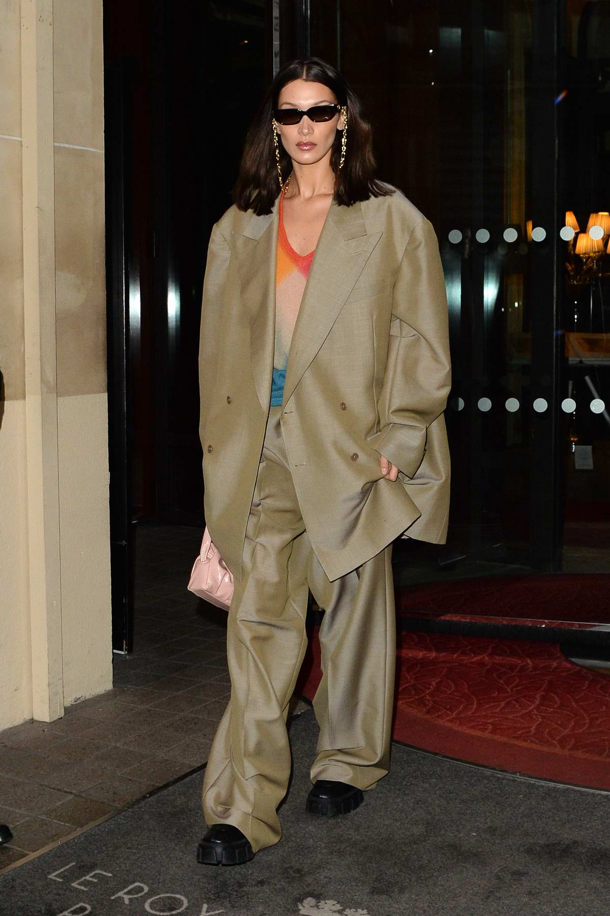 Bella Hadid seen wearing an oversized suit as she heads out during Paris Fashion Week 2020 in Paris, France