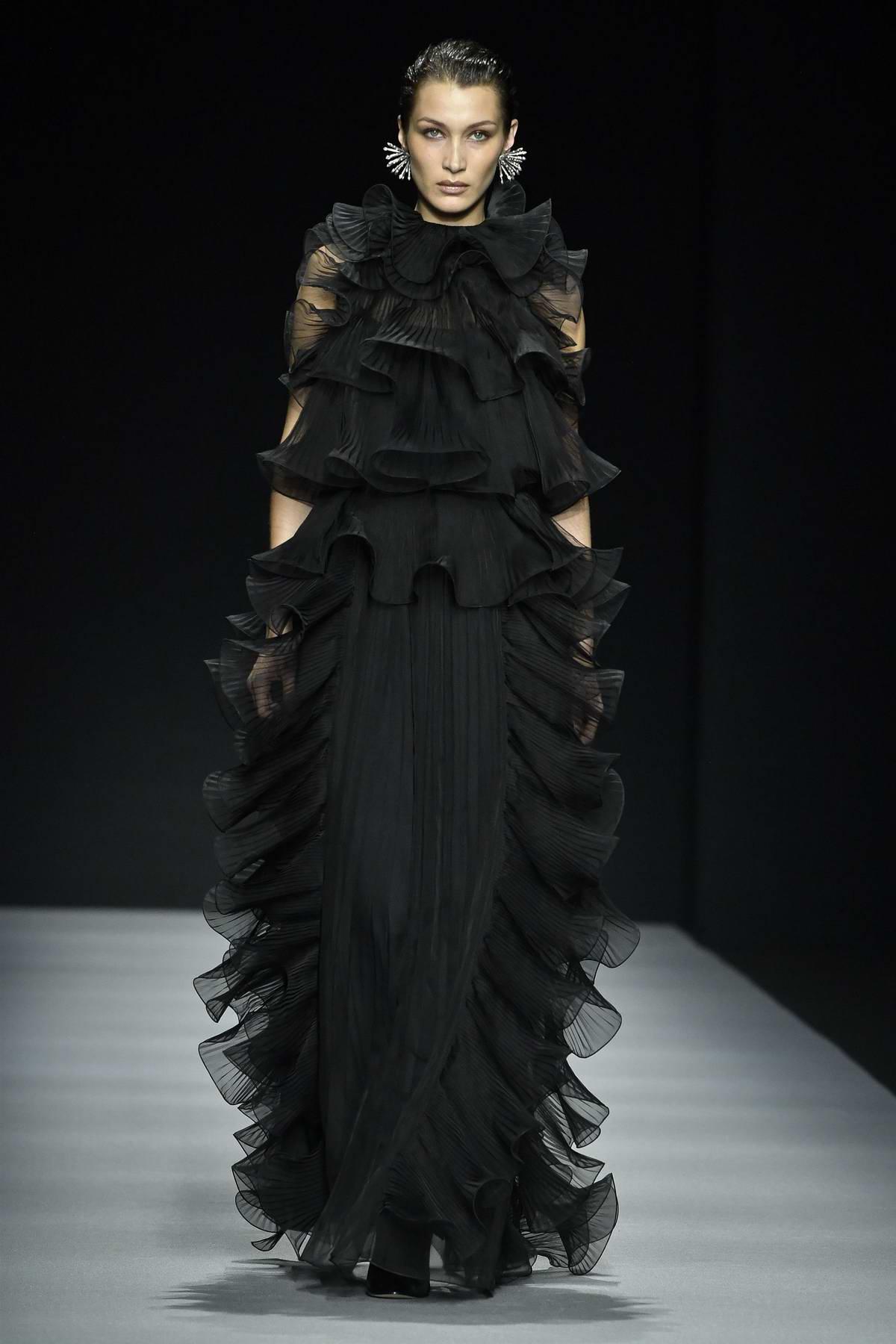 Bella Hadid walks the Alberta Ferretti runway during F/W 2020 Milan Fashion Week in Milan, Italy