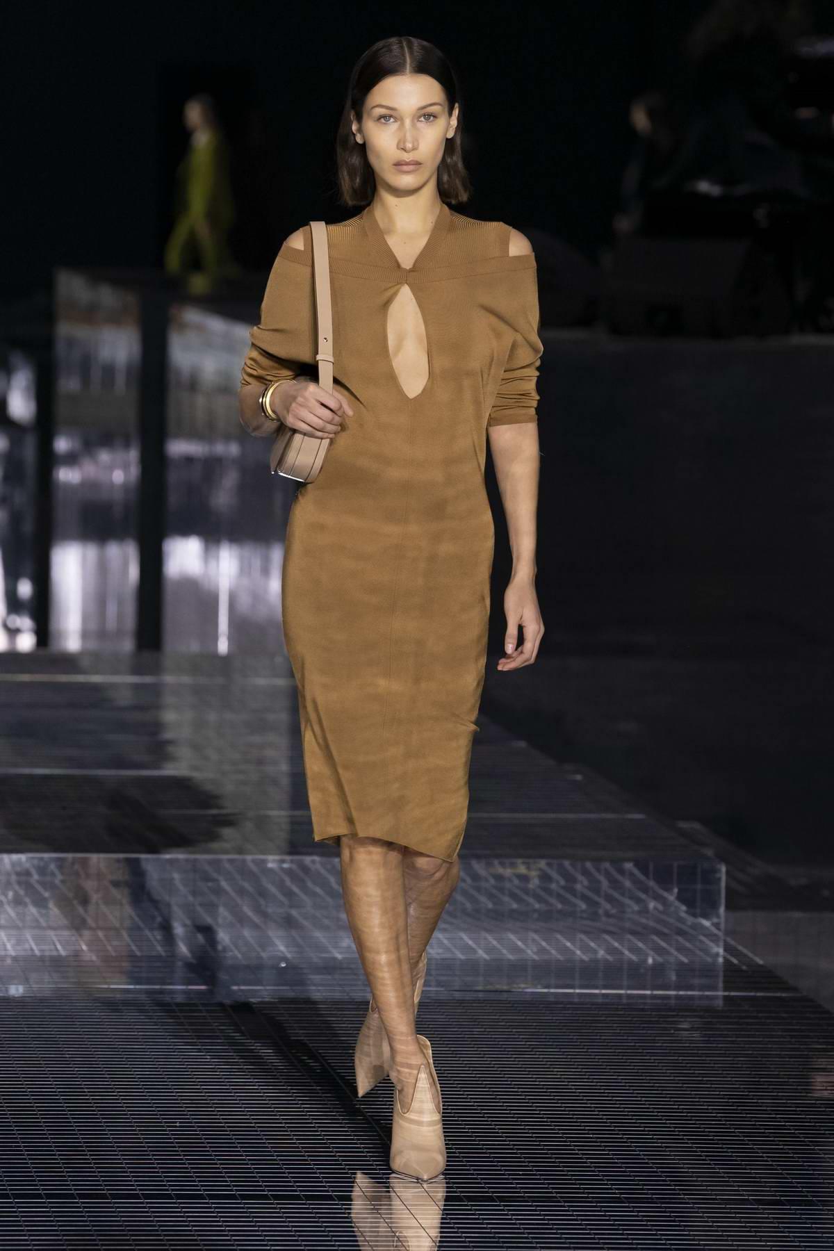 Bella Hadid walks the Burberry AW20 runway during London Fashion Week in London, UK