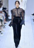 Bella Hadid walks the Max Mara FW 2020 runway during Milan Fashion Week in Milan, Italy
