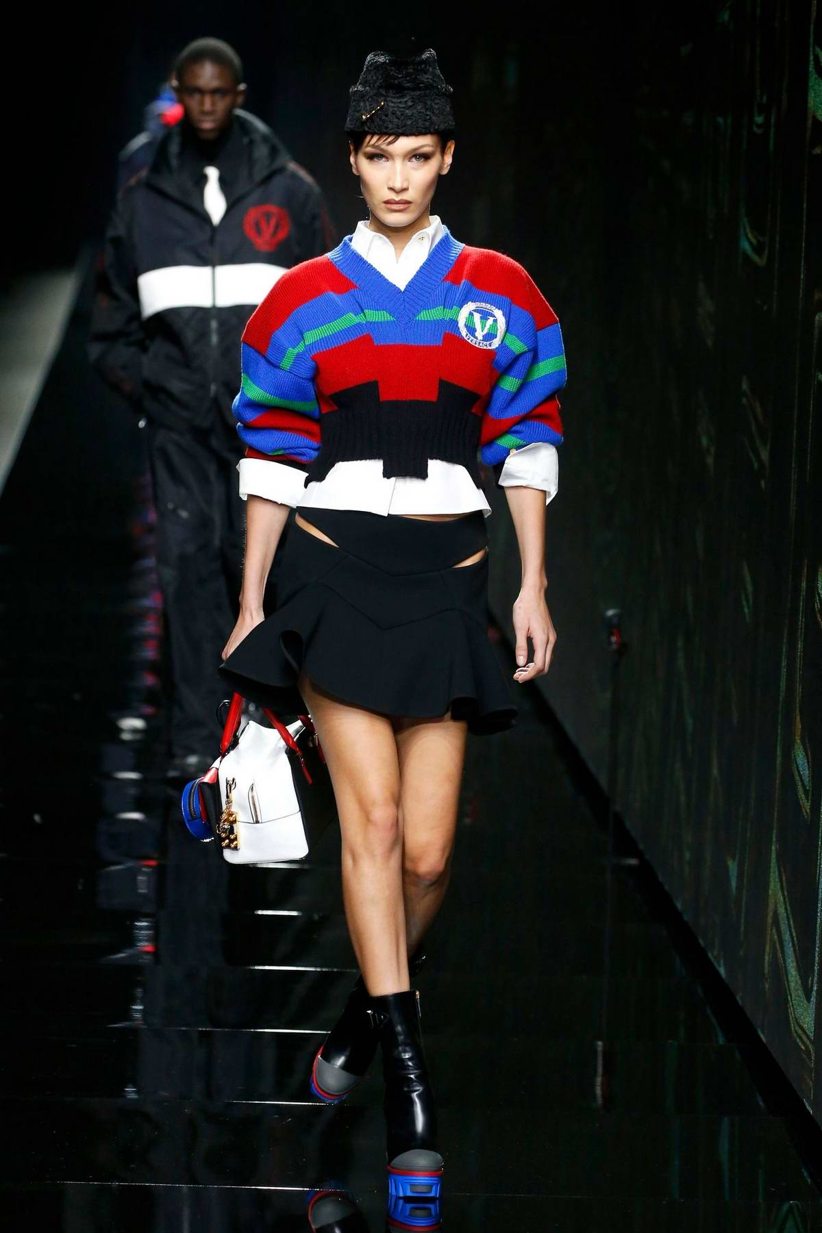 Bella Hadid walks the runway at the Versace fashion show, F/W 2020 during Milan Fashion Week in Milan, Italy
