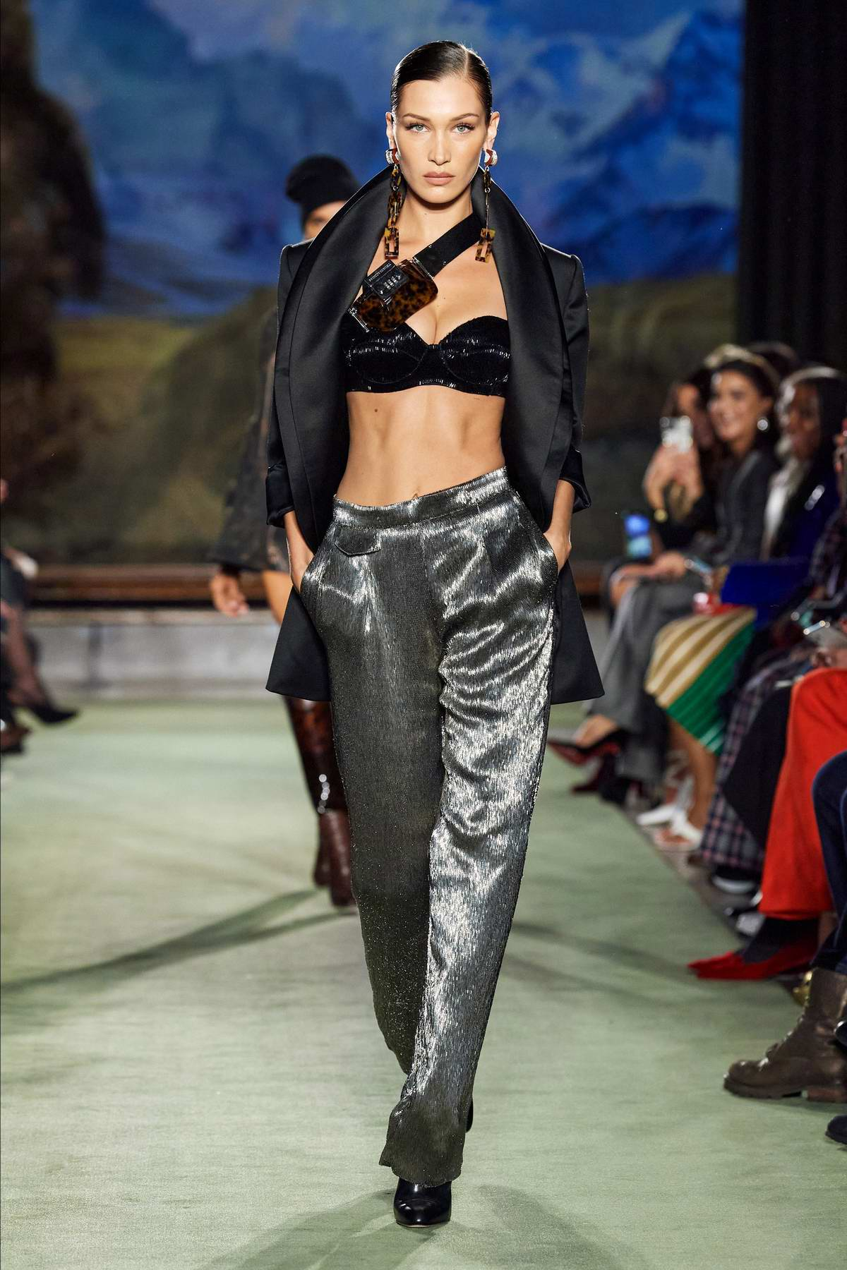 Bella Hadid walks the the runway for Brandon Maxwell Fall/Winter 2020 during NYFW in New York City