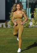 Bianca Gascoigne shows off her toned body as she prepares for the London Marathon, Essex, UK