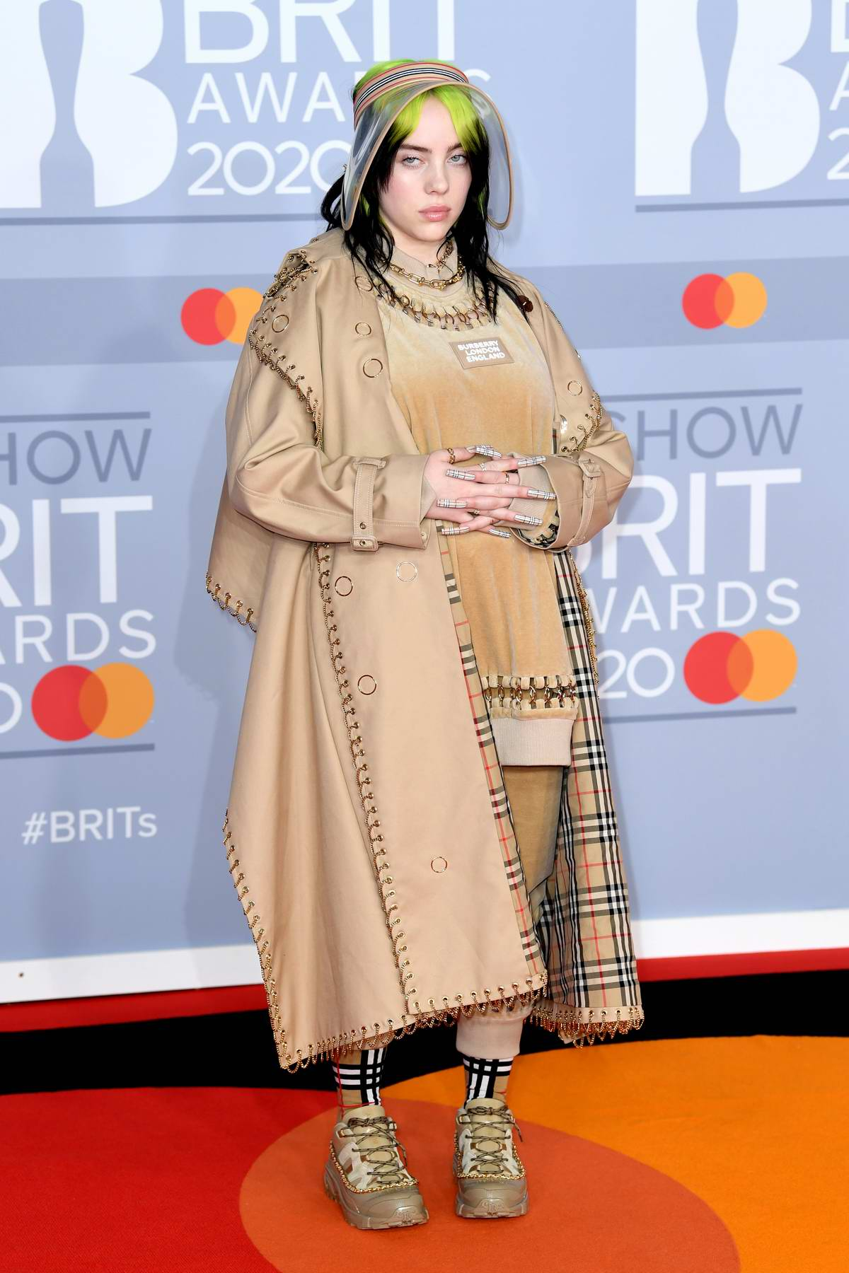 Billie Eilish attends the BRIT Awards 2020 at The O2 Arena in London, UK
