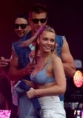 Camille Kostek and Rob Gronkowski at Gronk Beach party during Super Bowl LIV in Miami, Florida