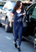 Courteney Cox looks fit in a blue top and matching leggings as she hits the gym for her morning workout in Los Angeles