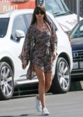 Dakota Johnson puts on a leggy display in a floral wrap dress while out shopping with her dog in Los Angeles