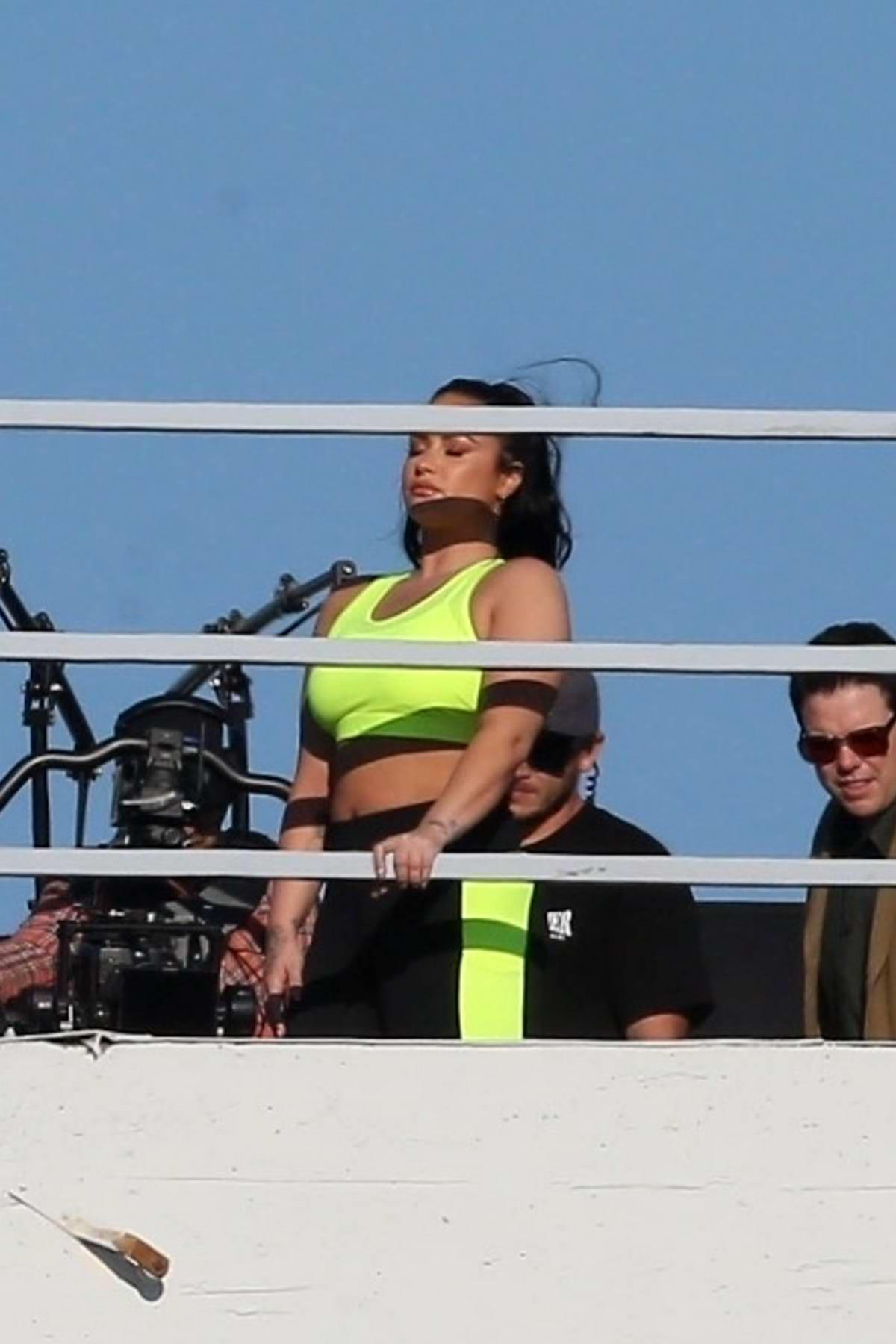 Demi Lovato spotted during a rooftop photoshoot for Fabletics ad campaign in Los Angeles