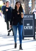Eiza Gonzalez looks sharp in black blazer and skin-tight jeans while making a coffee run in Los Angeles