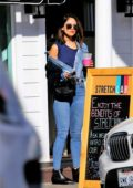 Eiza Gonzalez rocks double denim as she grabs an iced coffee and visits a nail salon in Studio City, California