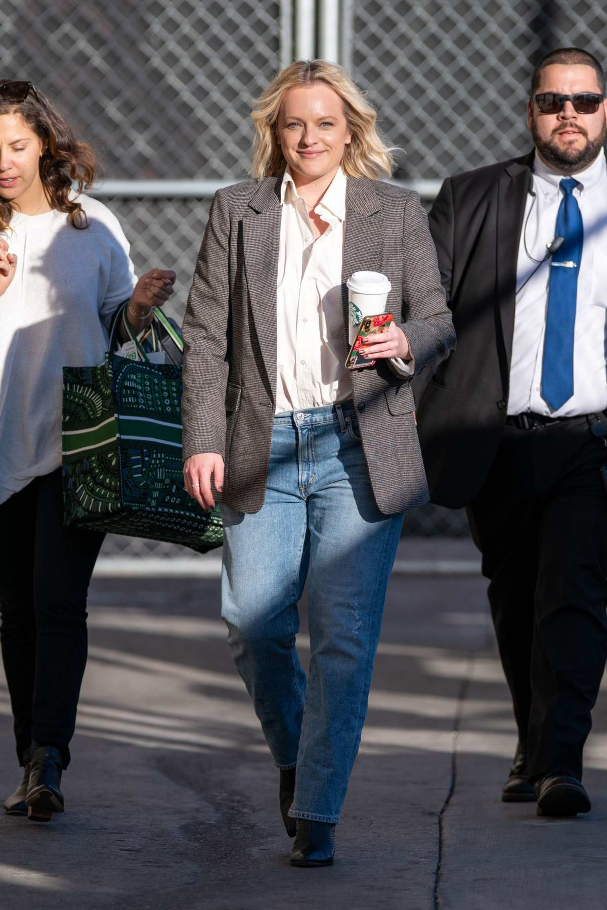 Elisabeth Moss seen arriving for her appearance on 'Jimmy Kimmel Live' in Hollywood, California