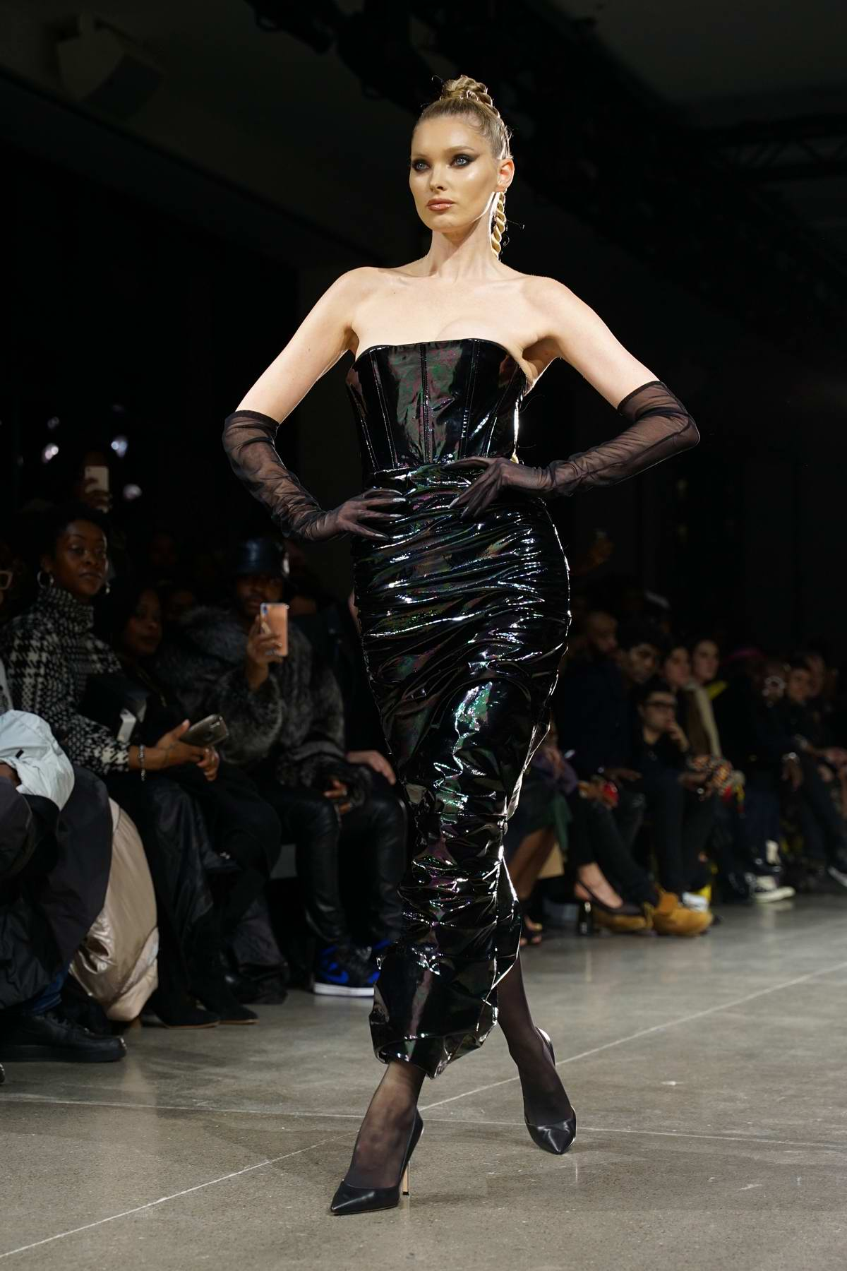 Elsa Hosk walks the runway for LaQuan Smith Fall 2020 Show during NYFW in New York City