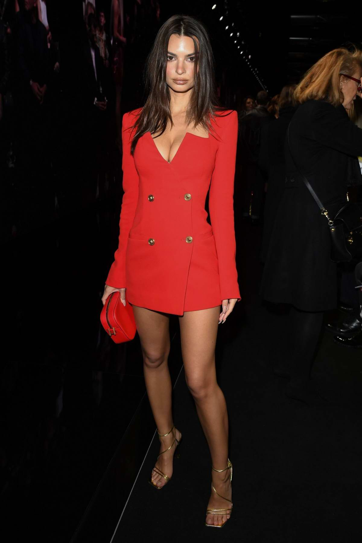Emily Ratajkowski attends the Versace fashion show, F/W 2020 during Milan Fashion Week in Milan, Italy