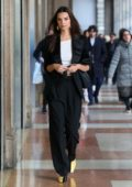 Emily Ratajkowski looks stylish in a black suit while out during Milan Fashion Week 2020 in Milan, Italy