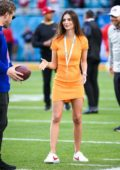 Emily Ratajkowski seen on the field before Super Bowl LIV in Miami, Florida