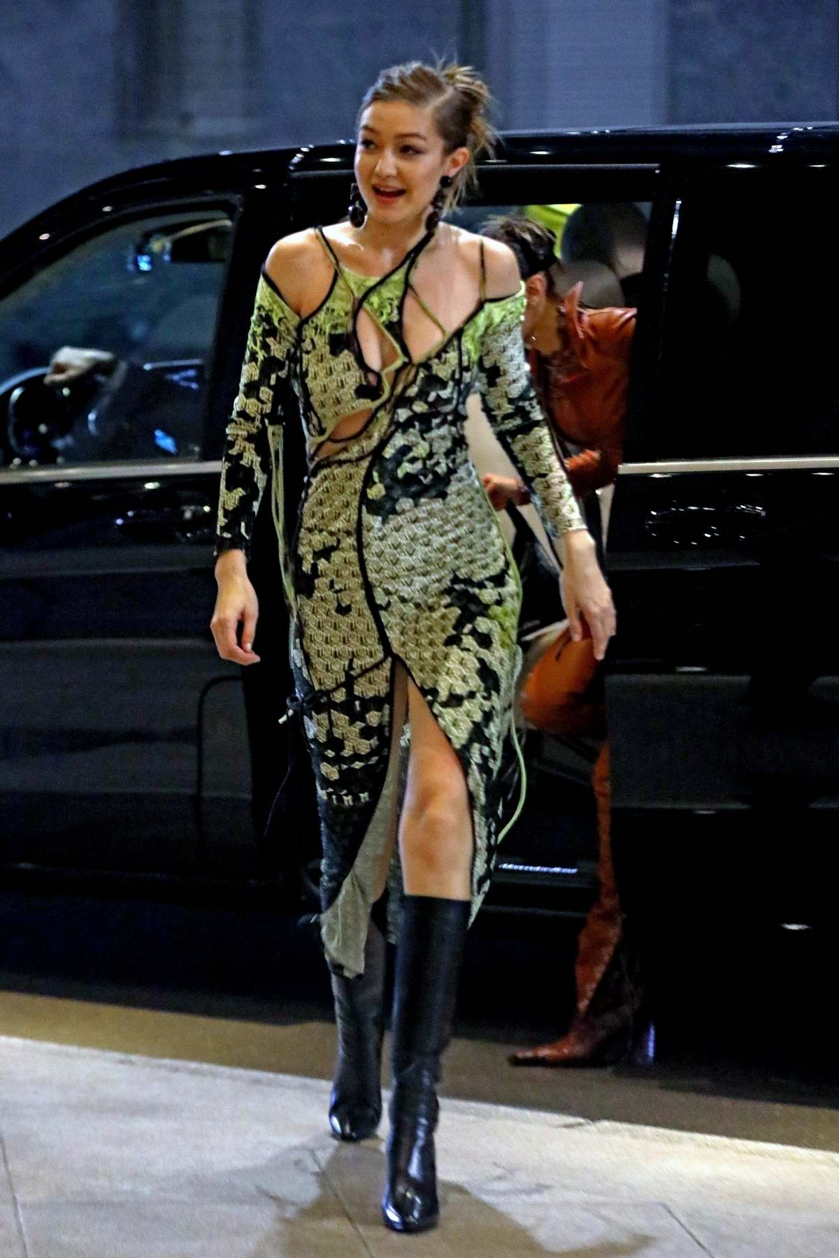 Gigi Hadid seen heading to the Versace after-party during the Milan Fashion Week 2020 in Milan, Italy