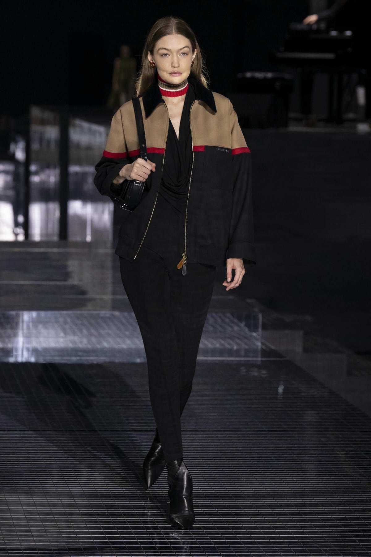 Gigi Hadid walks the Burberry AW20 runway during London Fashion Week in London, UK