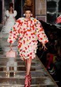 Gigi Hadid walks the runway at the Moschino fashion show, F/W 2020 during Milan Fashion Week in Milan, Italy