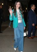 Hailee Steinfeld looks great in a teal blue blazer as she leaves 'The Late Show With Stephen Colbert' in New York City