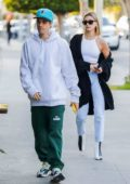 Hailey Bieber and Justin Bieber arrive for dinner at Pecorino in Los Angeles