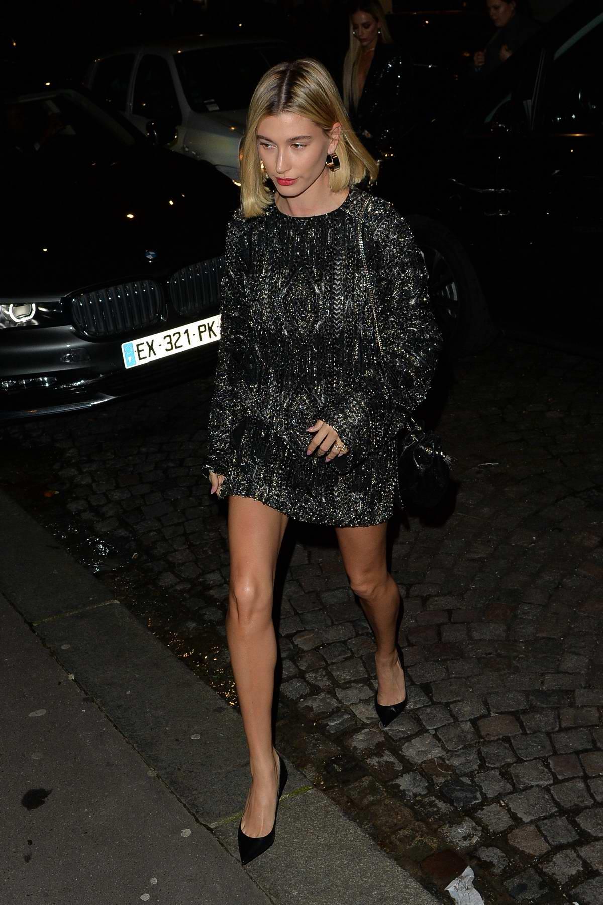 Hailey Bieber arrives at the Saint Laurent dinner party in Paris, France