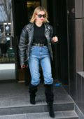Hailey Bieber looks chic in a black leather jacket as she heads out of her apartment in Brooklyn, New York City