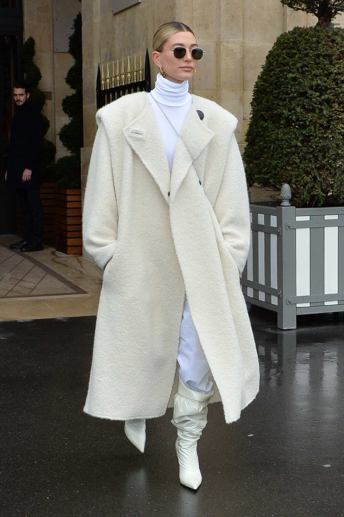Hailey Bieber looks posh as she leaves her hotel during Paris Fashion Week 2020 in Paris, France