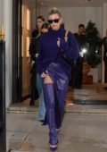 Hailey Bieber looks stylish in purple as she leaves the Balenciaga store in Paris, France