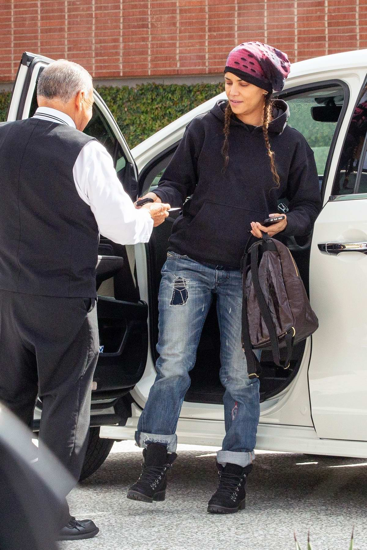 Halle Berry takes her kids for some shopping at the Westfield Century City mall in Los Angeles