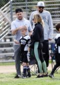 Hilary Duff joined by her ex Mike Comrie for their son's soccer game in Los Angeles