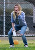 Hilary Duff looks super excited at her son's football game in Los Angeles