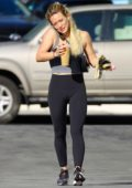 Hilary Duff picks up some breakfast and coffee after a Pilates workout in Sherman Oaks, California