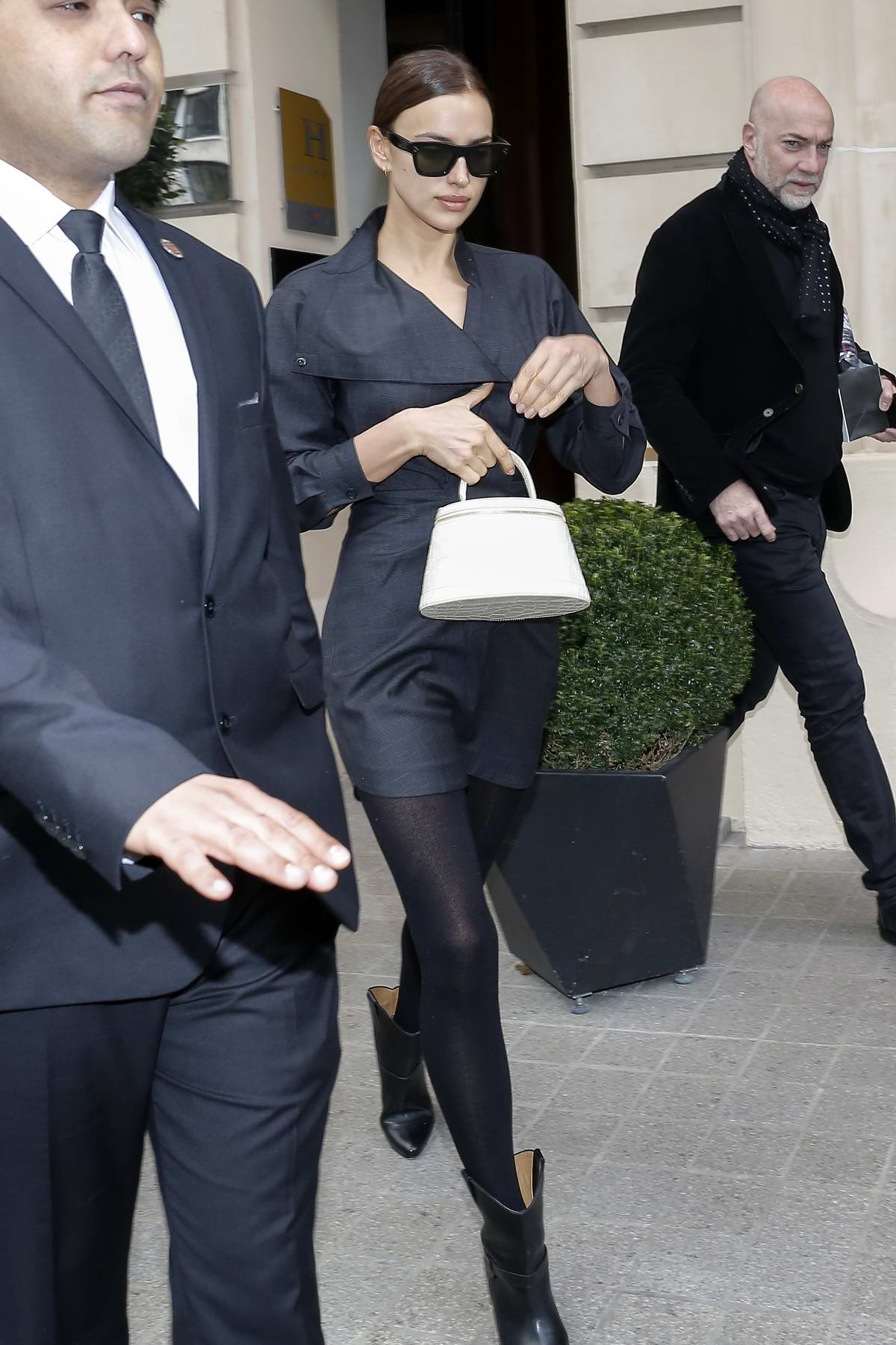 Irina Shayk looks chic in black as she leaves her hotel during Paris Fashion Week 2020 in Paris, France