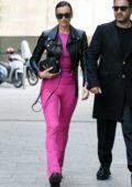 Irina Shayk stuns in pink while attending Versace Fashion Show, F/W 2020 during Milan Fashion Week in Milan, Italy