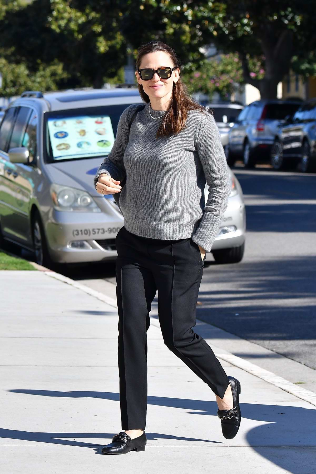 Jennifer Garner arrives for Sunday morning church services in Pacific Palisades, California
