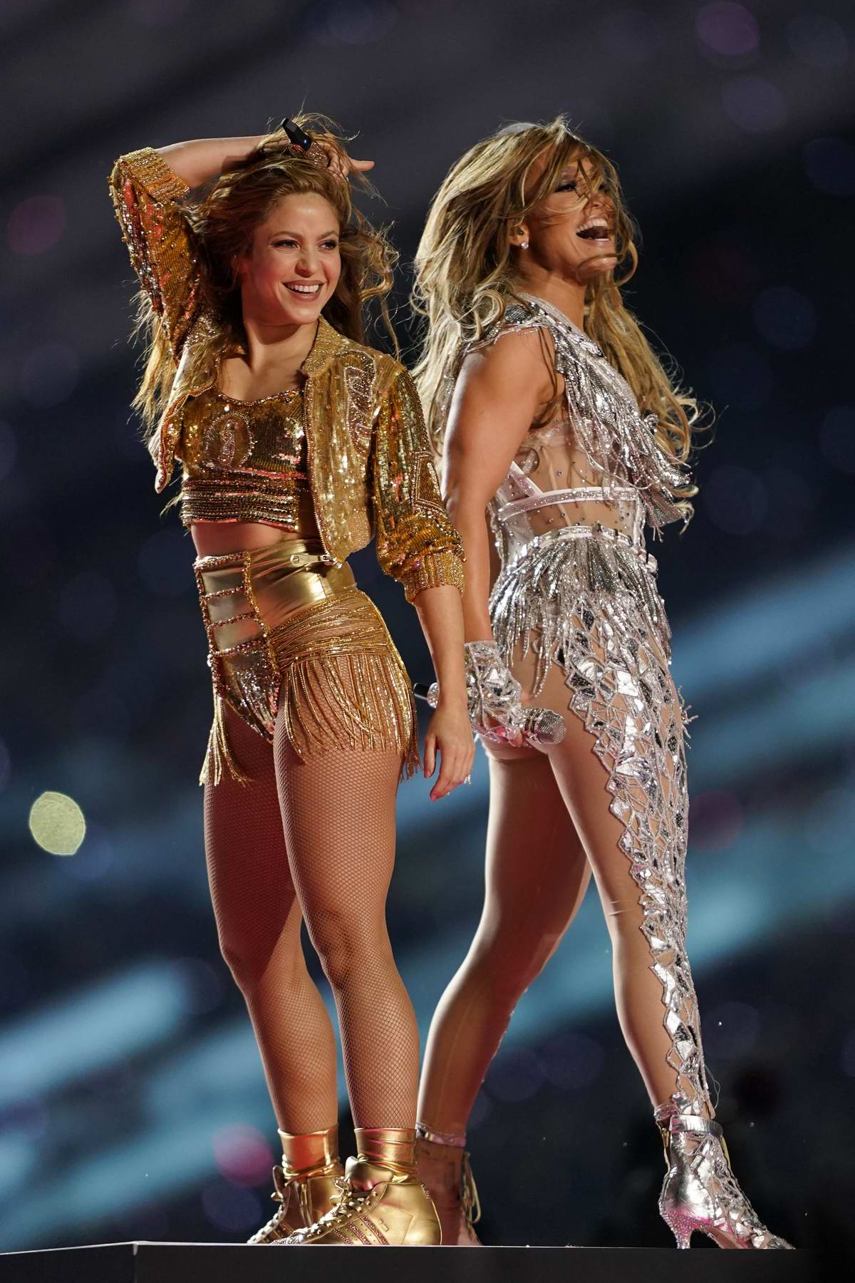 Jennifer Lopez and Shakira perform during the Super Bowl LIV Halftime Show in Miami, Florida