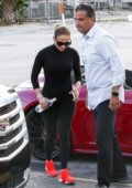 Jennifer Lopez arrives at the gym in a red Porsche, Miami, Florida