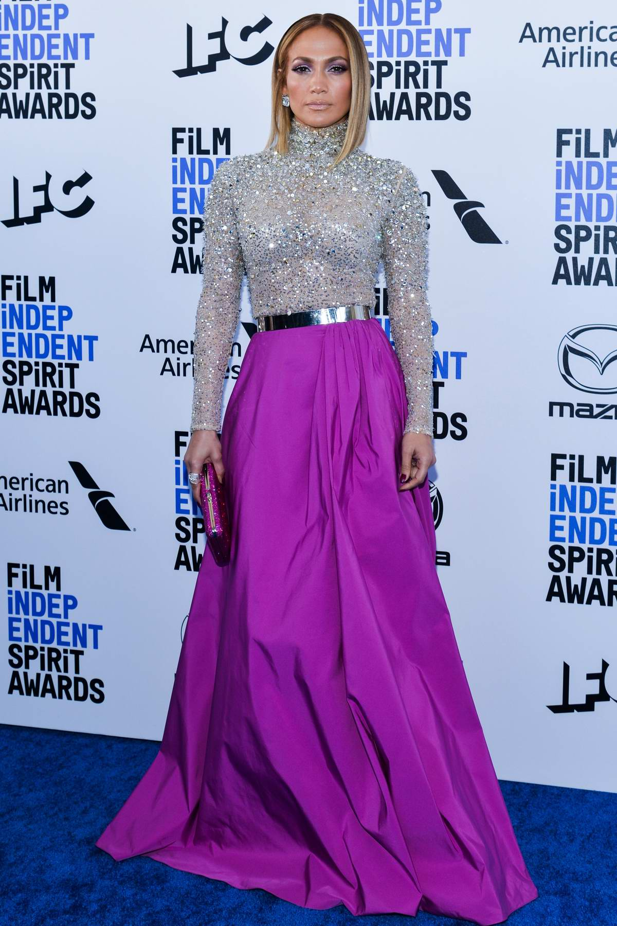 Jennifer Lopez attends the 2020 Film independent Spirit Awards at The Barker Hangar in Santa Monica, California