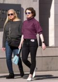 Joey King seen wearing a purple turtleneck sweater while out shopping on Rodeo Drive in Beverly Hills, California