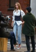 Josephine Skriver spotted during a photoshoot in the streets of New York City