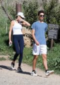 Kaia Gerber flaunts her slim figure in tank top and leggings while out for a hike with a friend in Malibu, California